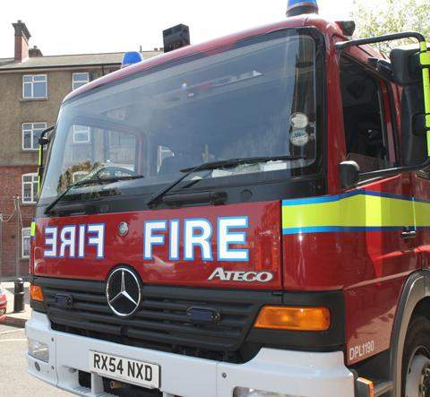 Specialist firefighters tackle blaze in chimney on Devon farm
