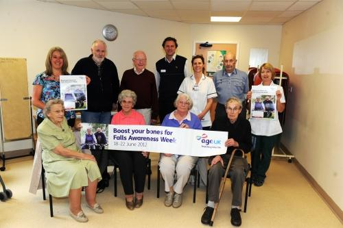Elderly people ready to test their mobility with members of Age UK Tiverton, Cullompton and District