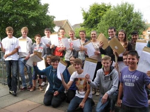 Pupils from Cullompton Community College with their GCSE results