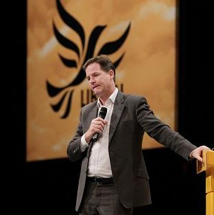 Deputy Prime Minister Nick Clegg during a question and answer session at the Liberal Democrat Annual Conference