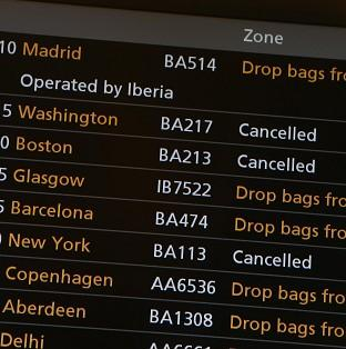 Airlines at at Heathrow Airport have had to cancel flights to the USA as Hurricane Sandy approaches the east coast