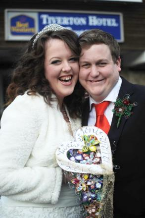 Happy couple Joni and Martin Bridgman, who got married in Tiverton at 12noon on the 12/12/2012
