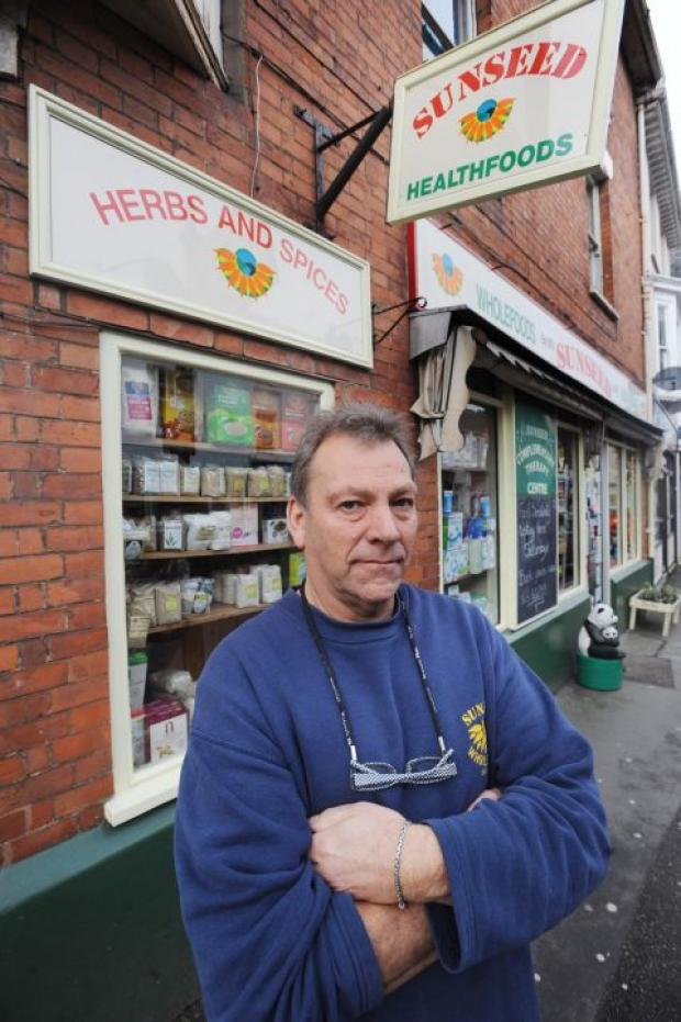 Tony Bourne outside Sunseed in Wellington, which fell victim to a smash and grab raid by thieves
