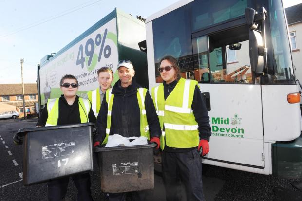 Members of the Mid Devon recycling team (from left), Steph Pedrick, Dean Folland, Kevin James and John Jenkins.