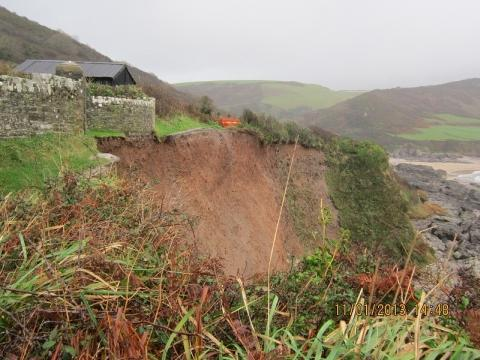 Record rainfall causes coast path cliff falls