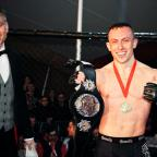 Mid Devon Star: Richard Buskin after winning the lightweight UFW champion belt