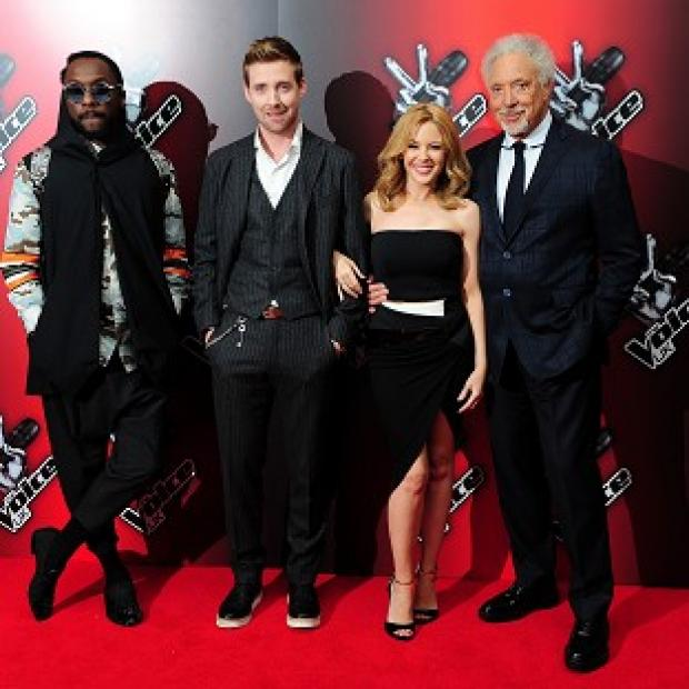 Mid Devon Star: At the launch of BBC talent show The Voice are coahces (from left) Will.i.am, Ricky Wilson, Kylie Minogue and Sir Tom Jones