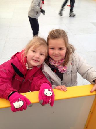SKATERS Libby Turner and Keeley Triggs at the ice rink
