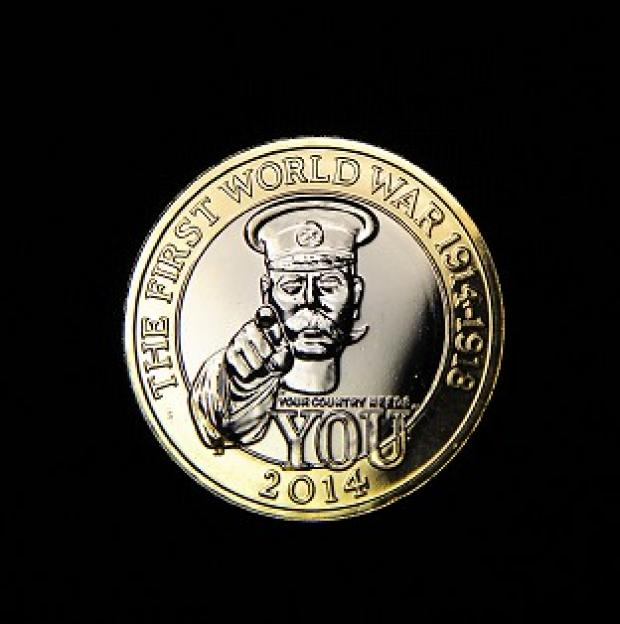Mid Devon Star: The Royal Mint's commemorative �2 coin shows an image of Lord Kitchener and the words 'Your country needs you'
