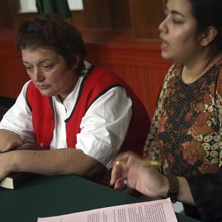 Andrea Waldeck at her trial hearing at Surabaya District Court, Indonesia (AP)