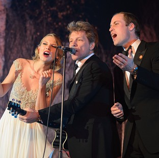 The Duke of Cambridge sings with Taylor Swift and Jon Bon Jovi at the Centrepoint Gala Dinner at Kensington Palace, London