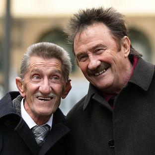 Mid Devon Star: The Chuckle Brothers, Barry (left) and Paul Elliott, arrive at Southwark Crown Court in London