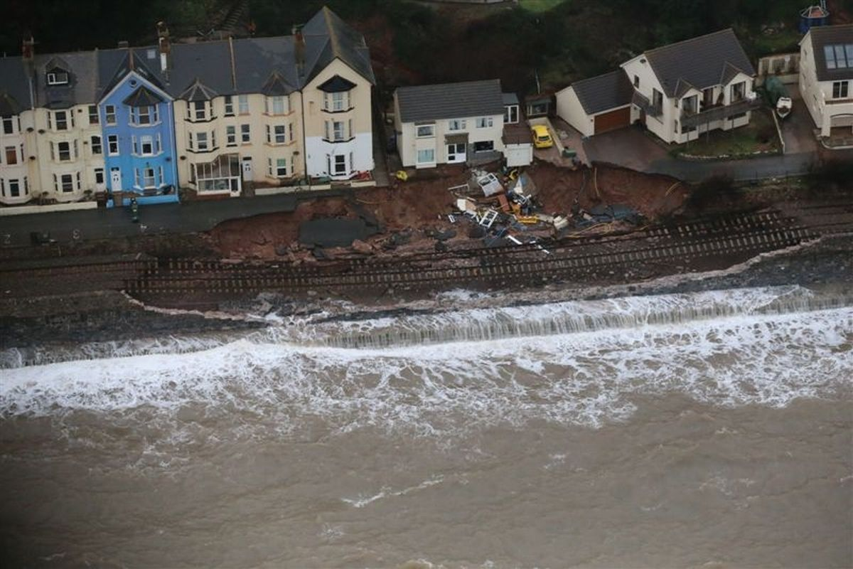 Aerial photographs show savage scale of main train line damage at Dawlish