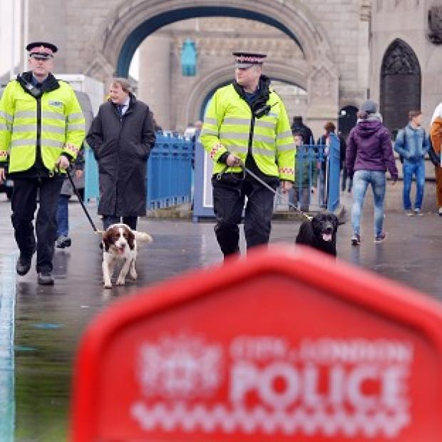 Mid Devon Star: City of London Police mount a large-scale operation on Tower Bridge at the launch of project Servator, which aims to put on a more visible police presence on the streets in the City