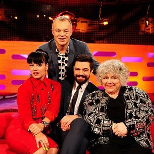 Mid Devon Star: Presenter Graham Norton, back, with - from left - Lily Allen, Dominic Cooper and Miriam Margolyes