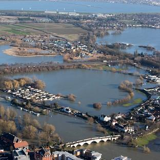 Flooded properties in Chertsey,