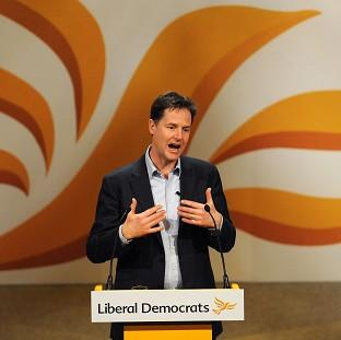 Mid Devon Star: Nick Clegg speaks during the Liberal Democrat Spring Conference at the Barbican Centre, York