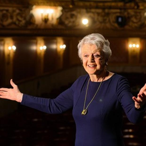 Mid Devon Star: Actress Dame Angela Lansbury onstage during a photocall at the Gielgud Theatre, in central London, where she will play the role of Madam Arcati in a new production of 'Blithe Spirit', her first West End role in almost 40 years.