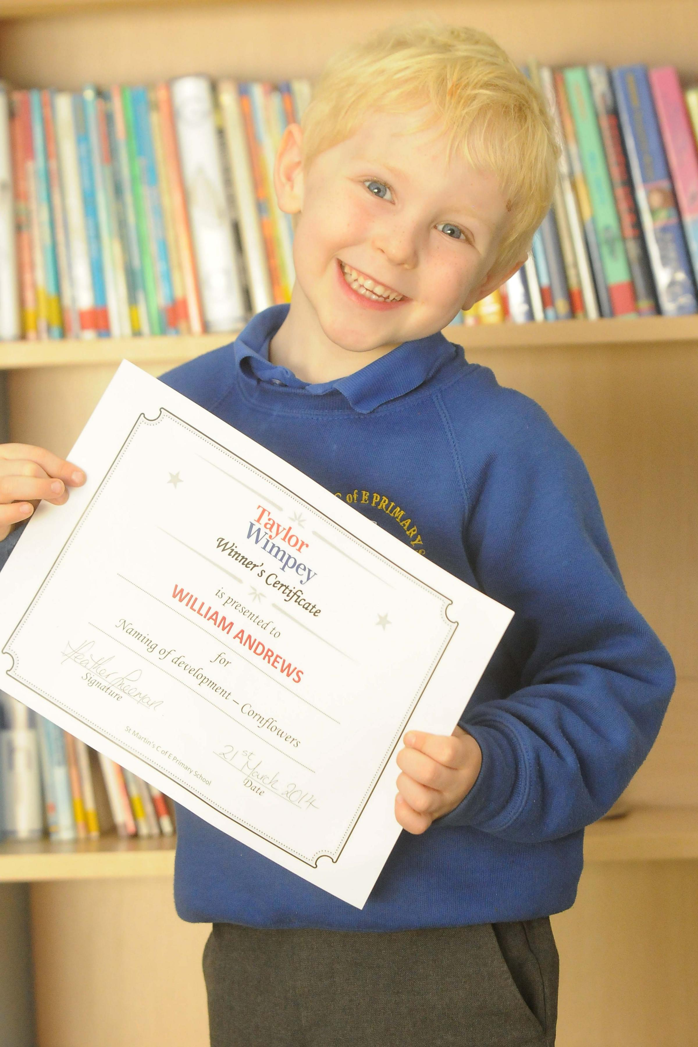 PUPIL WILLIAM WINS COMPETITION TO NAME TAYLOR WIMPEY'S NEW DEVELOPMENT
