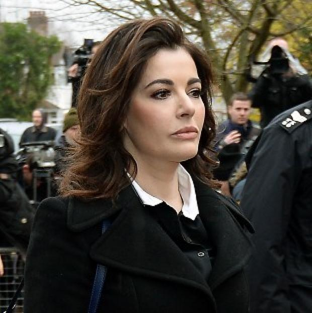 Mid Devon Star: Nigella Lawson arriving gave evidence in the case against two of her former personal assistants