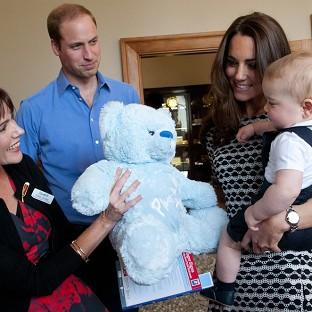 Mid Devon Star: The Duke and Duchess of Cambridge and Prince George visit Plunket, a child welfare group at Government House, Wellington