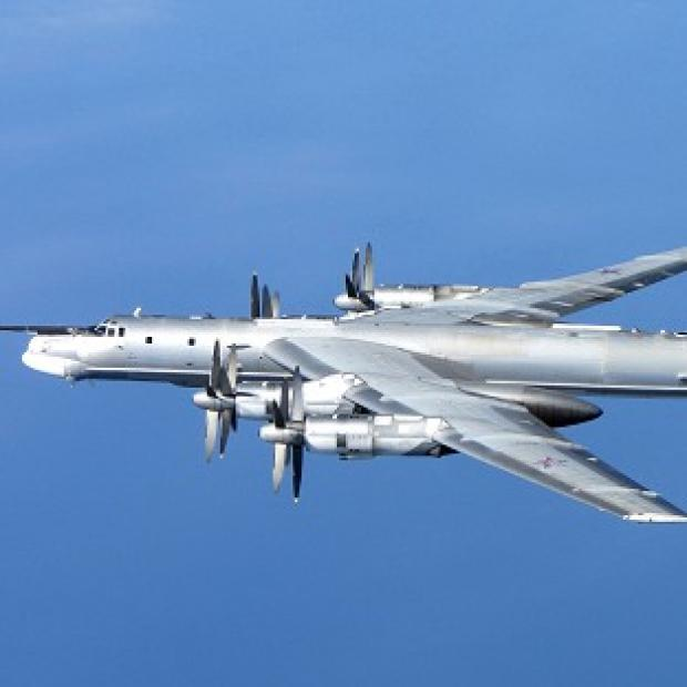Mid Devon Star: A Russian Tu-95 Bear H photographed by an RAF Typhoon from 6 Squadron at RAF Leuchars in Scotland on Wednesday (MoD)