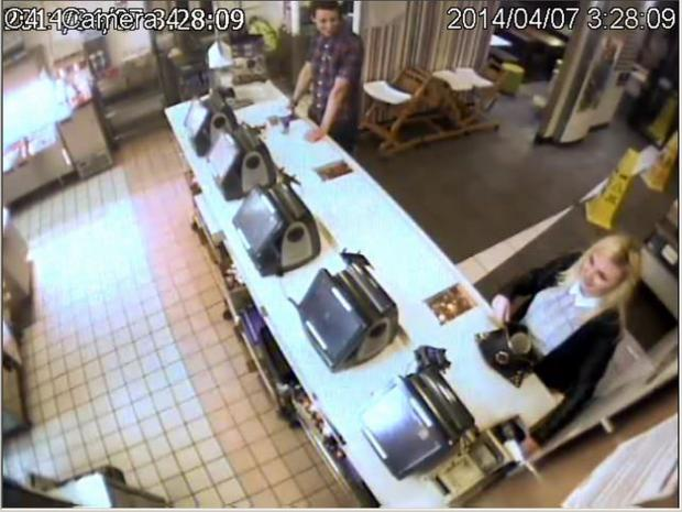 CCTV of pair suspected of steal in card machine from Plympton McDonald's