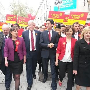 Labour Party leader Ed Miliband with Wales First Minister Carwyn Jones in Cardiff city centre