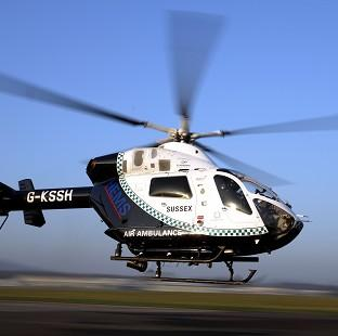 The Kent, Surrey and Sussex air ambulance helicopter flew the man to hospital with potentially life-threatening injuries