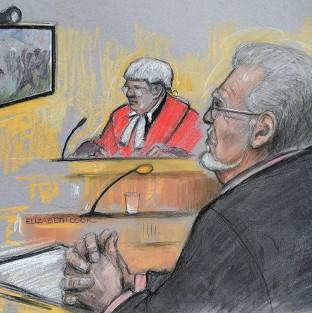 Mid Devon Star: Court artist sketch of Rolf Harris being shown footage of a TV game show in which he appeared during the 1970s