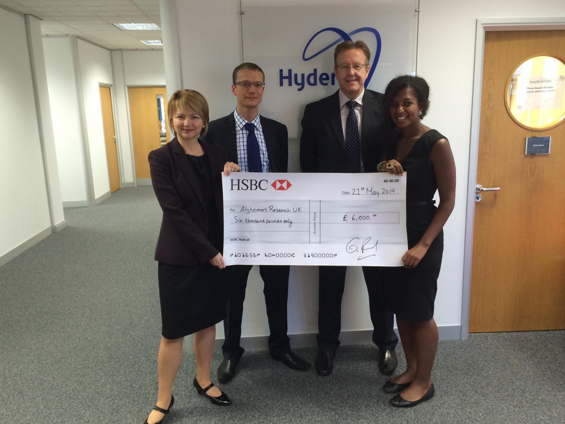 Exeter Hyder Consulting staff step up to support Alzheimer's Research UK