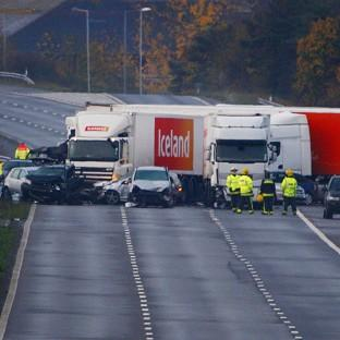 The scene on the M5 near Taunton in Somerset, after the pile-up