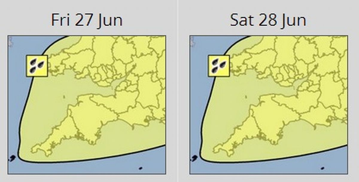 Severe weather warning for Devon as torrential downpours forecast