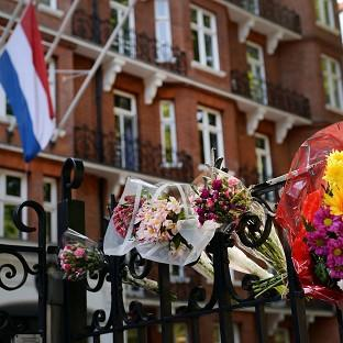 Flowers outside the Dutch Embassy in London to remember the passengers who were killed on Malaysian Flight MH17