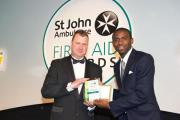 Chris Richards, pictured receiving his St John Ambulance award from footballer Fabrice Muamba back in 2012.