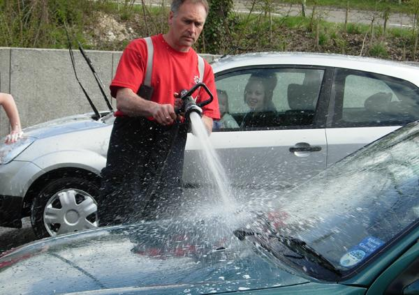 Firefighters wash in Exeter to raise vital funds for charity